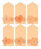 Romantic tags collection. With flowers and stars Stock Image