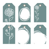 Romantic tags collection  with flowers. Vector hand drawn set.  Romantic tags collection  with flowers, lettering.  Set of  holiday invitations Royalty Free Stock Photos