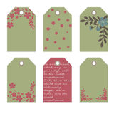 Romantic tags collection  with flowers. Vector hand drawn set.  Romantic tags collection  with flowers, lettering.  Set of  holiday invitations Royalty Free Stock Photo