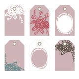 Romantic tags collection  with flowers. Vector hand drawn set.  Romantic tags collection  with flowers, lettering.  Set of  holiday invitations Stock Photos