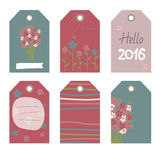 Romantic tags collection  with flowers. Vector hand drawn set.  Romantic tags collection  with flowers, lettering.  Set of  holiday invitations Royalty Free Stock Photography