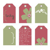 Romantic tags collection  with flowers. Vector hand drawn set.  Romantic tags collection  with flowers, lettering.  Set of  holiday invitations Stock Images