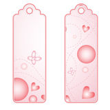 Romantic tags or labels with hearts and butterfly Royalty Free Stock Photography