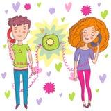 Romantic talk. Romantic mood couple of lovers communicating by phone - cartoon vector Royalty Free Stock Photos
