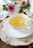 Romantic tea drinking with jasmine green tea Royalty Free Stock Photos