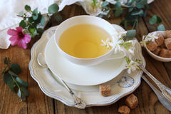 Romantic tea drinking with jasmine tea Royalty Free Stock Photography