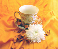 Romantic tea. Romantic golden cup of tea with white chrysanthemum on orange background and drapery with petals Royalty Free Stock Photos