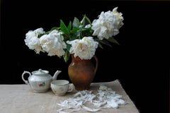 Romantic tea serving stock photo