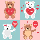 Romantic teddy with balls and heart Royalty Free Stock Photo