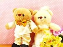 Romantic teddy bear on wedding scene love concept Royalty Free Stock Images
