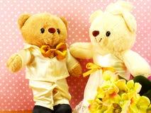 Romantic teddy bear on wedding scene love concept Stock Photos