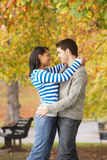 Romantic Teenage Couple In Autumn Park. Hugging Royalty Free Stock Image