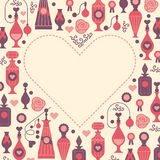 Romantic template. Decorative background with silhouettes of perfume bottles and packages. Banners with blank space for text in a shape of heart made in gentle stock illustration