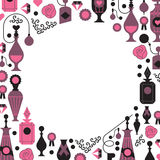 Romantic template. Decorative background with silhouettes of perfume bottles and packages. Banners with blank space for text blank space in a shape of circle royalty free illustration