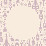 Romantic template. Decorative background with silhouettes of perfume bottles and packages. Banners with blank space for text blank space in a shape of circle stock illustration