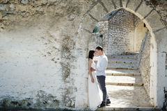 Romantic tender couple in wedding day in Sperlonga, Italy Royalty Free Stock Photography