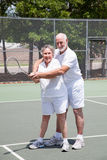 Romantic Tennis Lessons Royalty Free Stock Photo