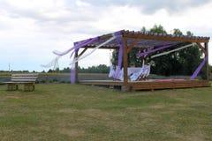 Romantic terrace on lavander field Royalty Free Stock Images