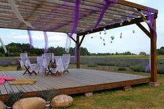 Romantic terrace at lavender field Stock Photos
