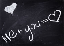 Romantic text handwritten on blackboard with chalk Royalty Free Stock Image