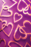 Romantic textile background with hearts. In closeup Royalty Free Stock Photos