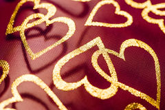 Romantic textile background with hearts Royalty Free Stock Image