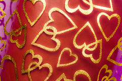 Romantic textile background with hearts Stock Images