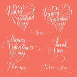 Romantic texts set. Set of decorative design elements representing Valentine's day related quotes and words. Handwritten texts in red ink on white background vector illustration