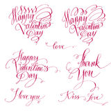 Romantic texts set. Set of decorative design elements representing Valentine's day related quotes and words. Handwritten texts in red ink on white background royalty free illustration