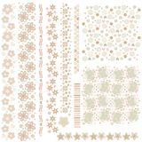 Romantic texture and trim collection with cute flowers and hearts. Romantic texture and trim collection with cute flowers, hearts and dots over white background Stock Photo