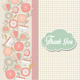Romantic Thank You card with flowers Stock Photos