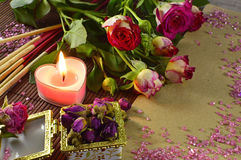 Romantic Till Life With Candle Stock Photo