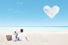 Romantic time at beach Stock Images