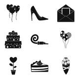 Romantic time icons set, simple style Stock Photos
