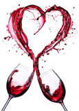 Romantic Toast Of Wine Red In Splashing In A Heart Royalty Free Stock Images