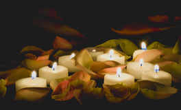 Romantic tonight. With candles and roses Stock Photography