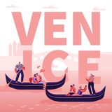 Romantic Tour in Italy Venice Concept. Happy Loving Couples in Gondolas with Gondoliers Floating along Canal, Hugging vector illustration