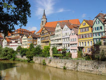 Romantic Town. View of the old German university town of Tuebingen on the Neckar river on a bright summer day. 85000 inhabitants and 22000 students live at that Stock Photography