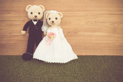 Romantic toy Bear in wedding scene Royalty Free Stock Photo