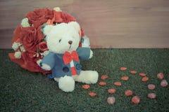 Romantic toy Bear in wedding scene Royalty Free Stock Image