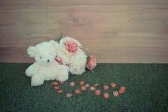Romantic toy Bear in wedding scene Stock Photo