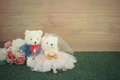 Romantic toy Bear in wedding scene Stock Photography
