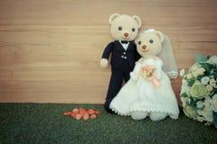 Romantic toy Bear in wedding scene Stock Images