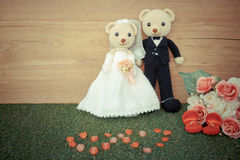 Romantic toy Bear in wedding scene Royalty Free Stock Images