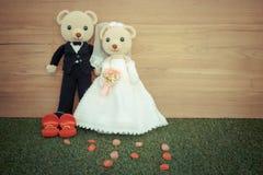 Romantic toy Bear in wedding scene Royalty Free Stock Photography