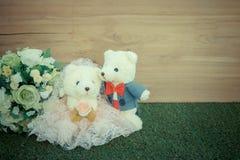 Romantic toy Bear in wedding scene Royalty Free Stock Photo