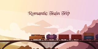Romantic Train Trip Background. Romantic train trip flat vector illustration with railway train passing over bridge at mountain landscape background Royalty Free Stock Photo