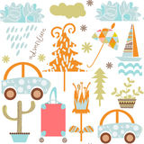 Romantic travel retro seamless pattern. It is located in swatch. Menu,  image. Cute adorable picture. Funny design colorful backdrop, vector Royalty Free Stock Images