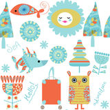 Romantic travel retro seamless pattern. It is located in swatch Stock Images