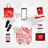 Romantic travel suitcase with set of trip things Royalty Free Stock Photography